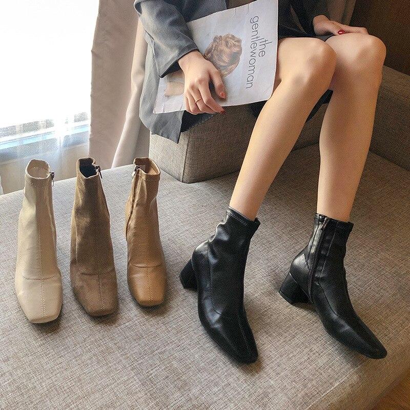Autumn Winter Women Zipper Square Toe Boots Elastic Suede Woman Short Boots Cotton Ankle Boots Women's Botas Mujer 2020 New Drop
