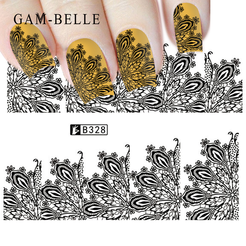GAM-BELLE 1pc Nail Sticker  White Black Water Decal Set  Sexy Lace Flower For DIY Slider Tips Styling Tool Nail Decoration Set