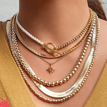 Punk Imitation Pearl Choker Necklace for Women Fashion Gold Color Geometry Round  Lasso Pendant Long Jewelry 2020 New