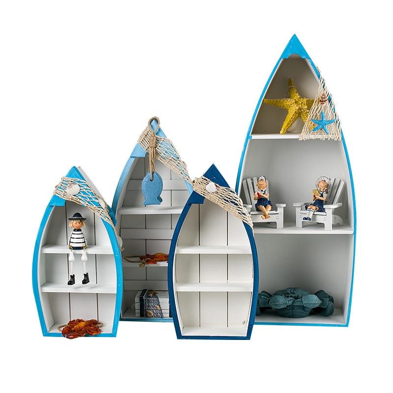 Rangement pour bateau en bois nordique   Meubles de ménage, étagère de décoration de maison, Pot de fleurs, support pour Sondries, supports de rangement d'ornement d'océan
