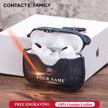 Genuine Leather Case For AirPods Pro coque Bluetooth Earphone Protective Cover Charging boite For Air pods 3 Pro Cases Keyring