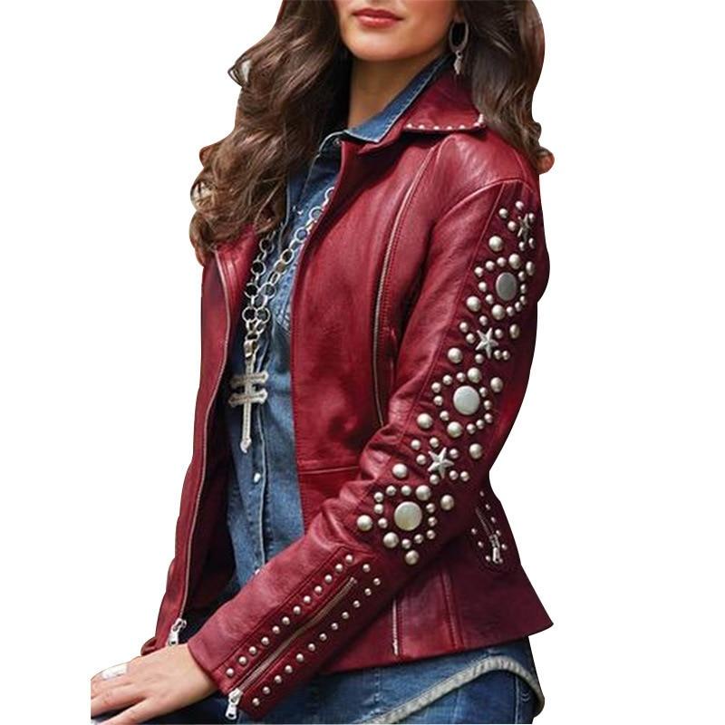 5XL Spring Faux Leather Womens Autumn Jackets Ladies Basic Jacket For Plus Size Coat Female Jaket Women Embellished Streetwear