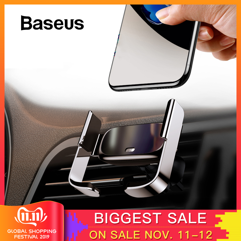 Baseus Mini Automatic Clamping Car Phone Holder For IPhone 11 Xs Max Air Vent Mount Holder For Samsung Note 10
