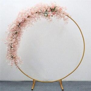 Image 4 - ทารกพรรคแต่งงานPropsตกแต่งWrought IronรอบแหวนArchฉากหลังรอบArchสนามหญ้าประดิษฐ์ดอกไม้แถวขาตั้งWallชั้นวาง