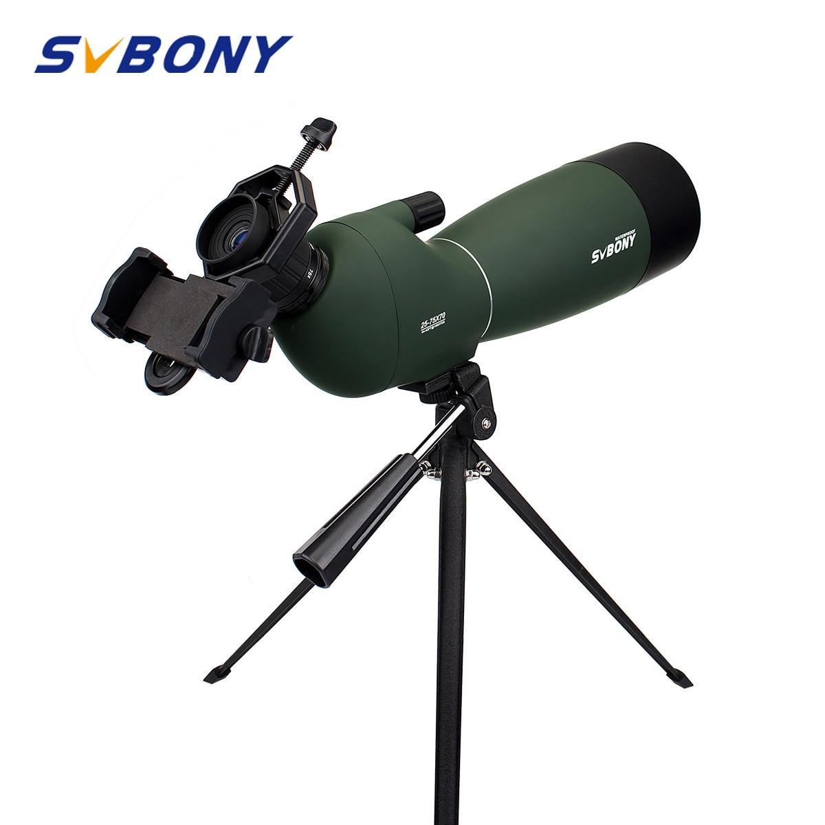 Svbony sv28 50/60/70mm 스포팅 스코프 줌 망원경 방수 버드 워치 사냥 단안 및 범용 전화 어댑터 mountf9308 사냥, 촬영, 양궁, 조류 관찰, 천문학을위한 야외 광학