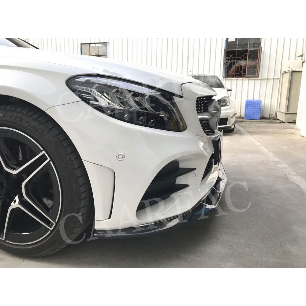Carbon Fiber Front <font><b>Bumper</b></font> Lip Spoiler for <font><b>Benz</b></font> C Class <font><b>W205</b></font> C205 C63 Coupe Sport 2019-2022 Car Styling image