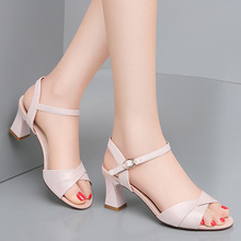 Shoes Heel Pink Sandals Button Fairy Thick Fashion Summer Women's New