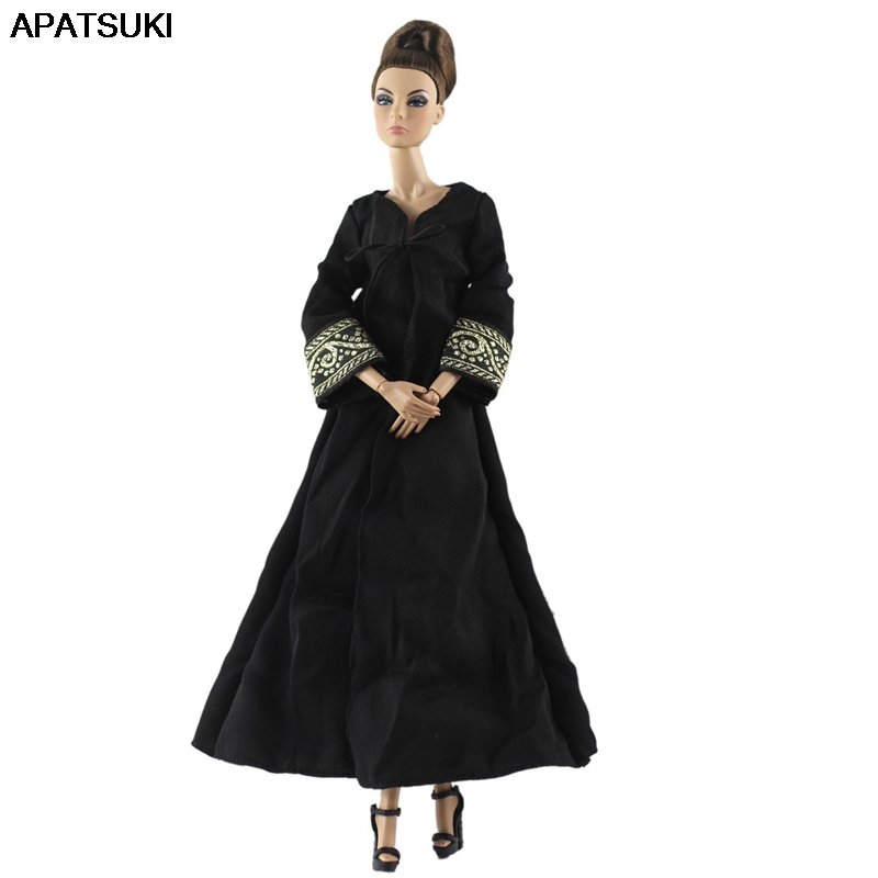 Black Evening Party Dresses For Barbie Doll Outfits Muslim Clothes For 1/6 BJD Dolls Clothing For 1:6 Dollhouse Accessories Toy