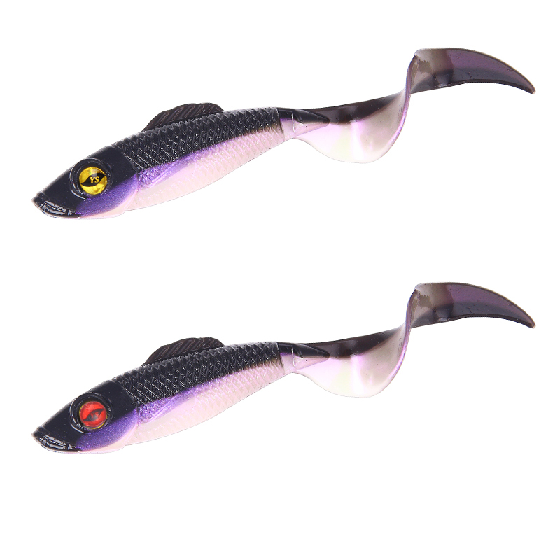 2019 New Hot Sales Purple Fishtail Fishing Lures Lead Coating Soft Bait Fishing Tackle