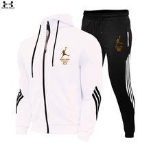 Комплекты из 2 предметов спортивный костюм для мужчин с капюшоном толстовка с капюшоном + штаны, пуловер с капюшоном спортивный костюм Ropa ...