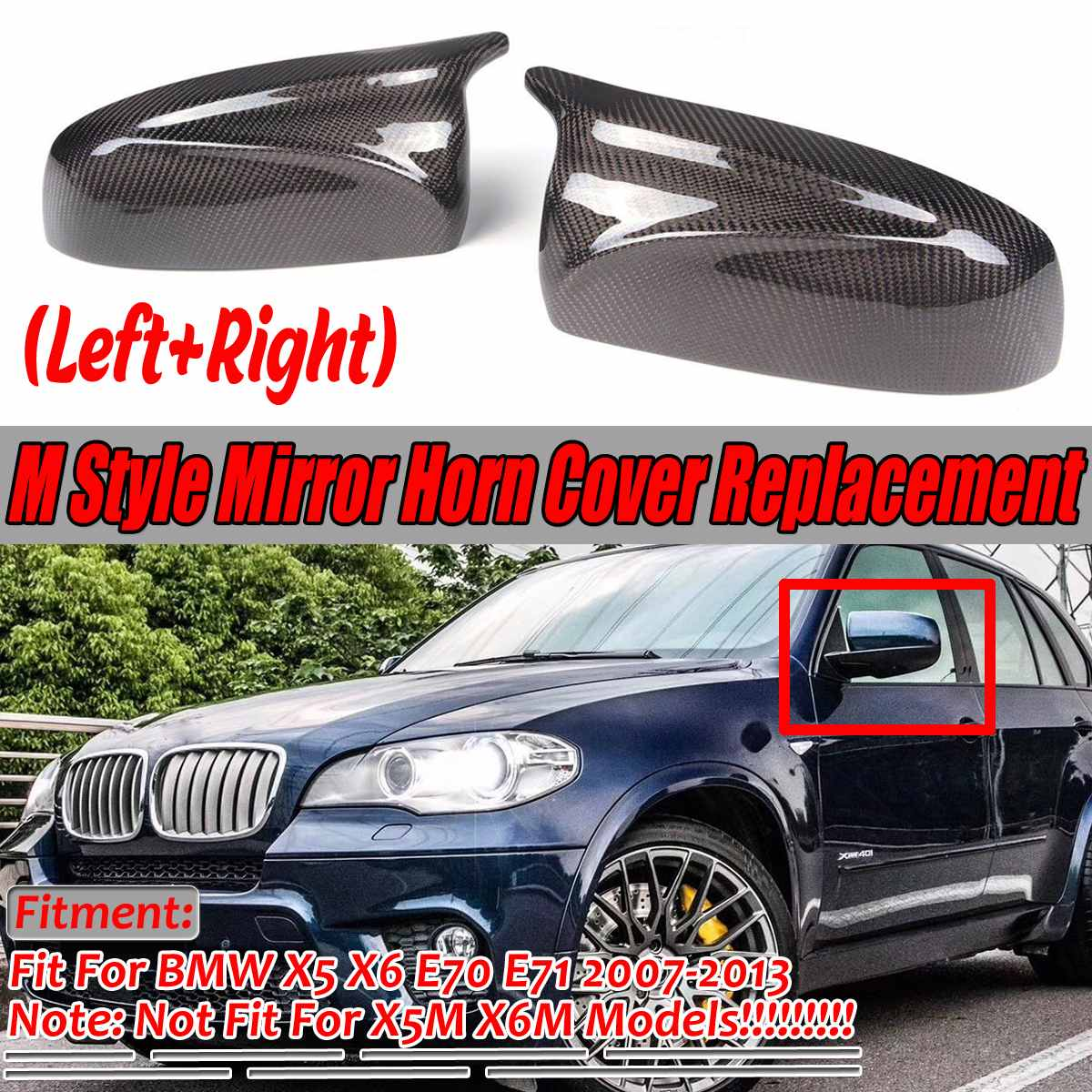 A Pair Real Carbon Fiber/ABS Mirror Cover X5 X6 Car Side Rearview Mirror Cap Cover Replacement For BMW X5 X6 E70 E71 2007-2013