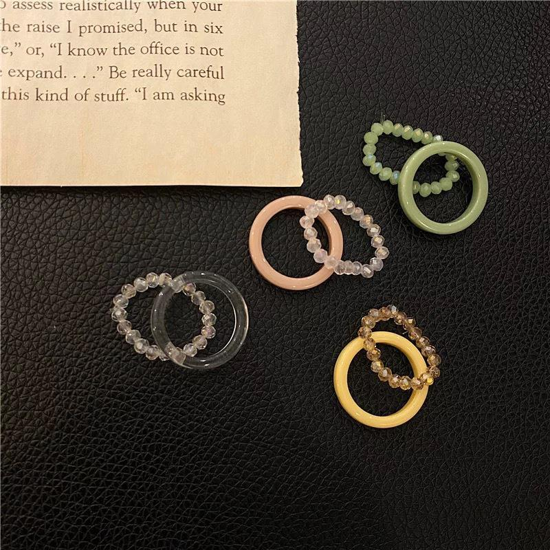 coxeer 2Pcs/Set Solid Color Knuckle Rings Elastic Fashion Cute Resin Jewelry Ring Finger Ring For Women Jewelry Accessories