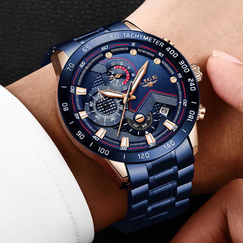 LIGE İş erkekler İzle lüks marka paslanmaz çelik kol saati Chronograph ordu askeri kuvars saatler Relogio Masculino