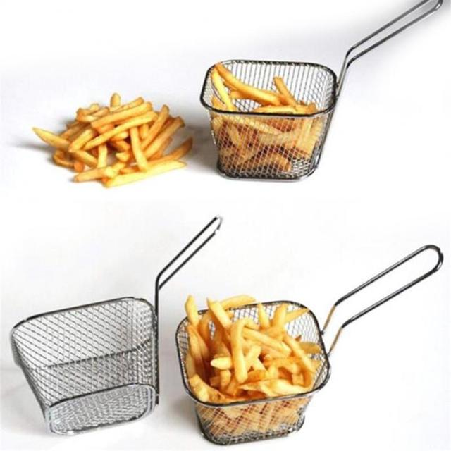 Portable Stainless Steel Chips Mini Frying Basket Strainer Fryer Kitchen Cooking Chef Basket Colander Tool French Fries Basket