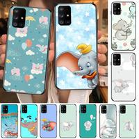 Disney Vliegende Olifant Dumbo Telefoon Case Romp Voor Samsung Galaxy A50 A51 A20 A71 A70 A40 A30 A31 A80 E 5G S Zwart Shell Art Mobiele
