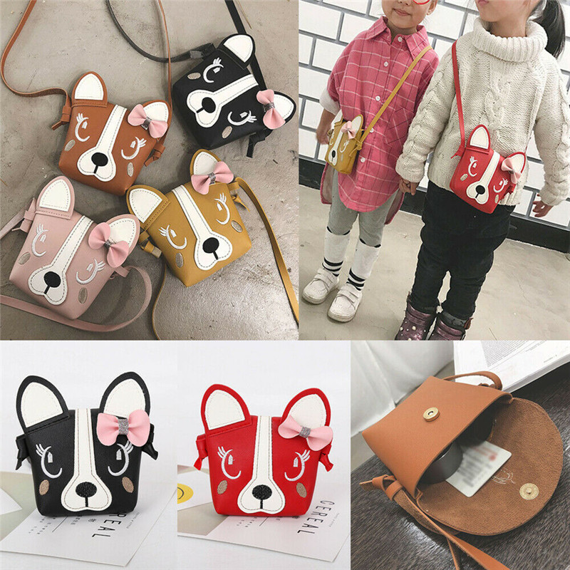 Child Girl Cute Dog Bow Leather Backpacks Fashion Crossbody Messenger Shoulder Bag Purse
