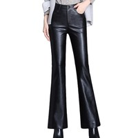 2019 Autumn Women's Leather Flare Pants Women High Waist Faux Leather Trousers Bell Bottoms Office Ladies Slim PU Flared Pants