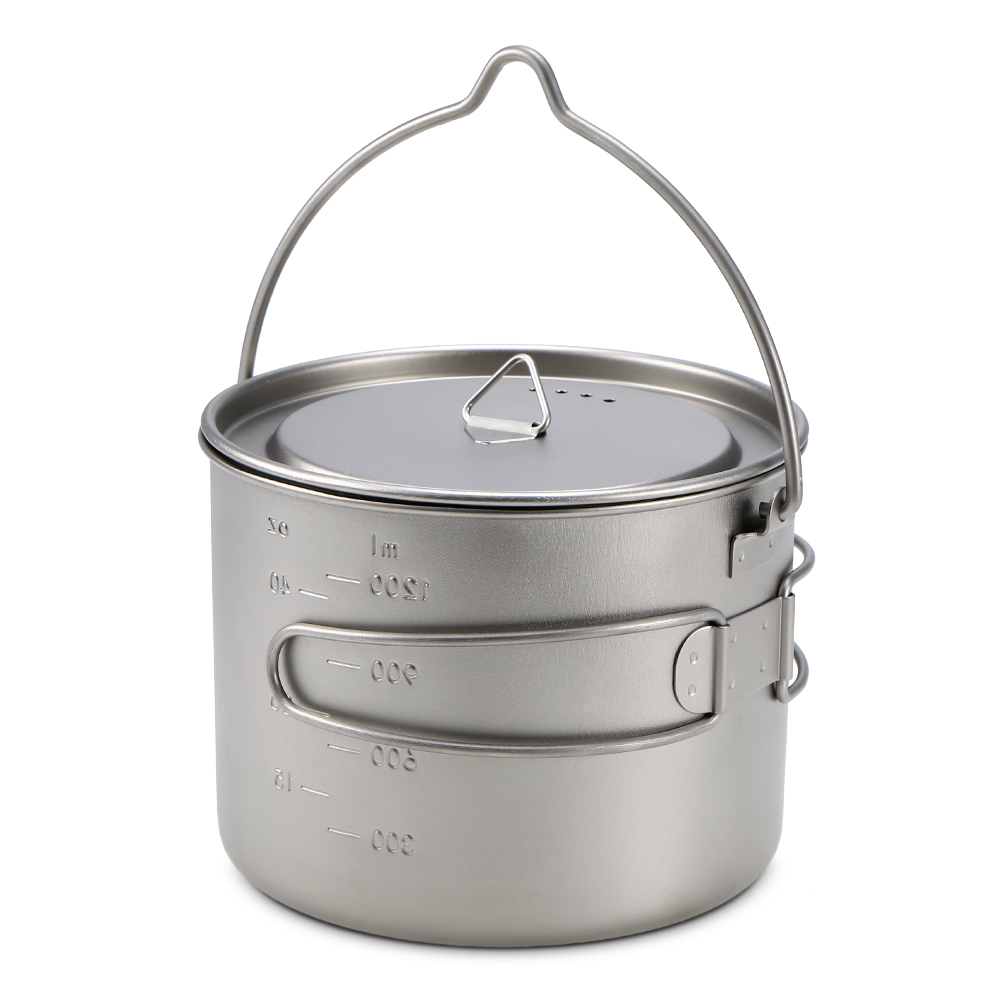 900ml/1600ml Titanium Pot Cup Hanging Camping Pot Portable Water Cup with Lid Foldable Handle Outdoor Tableware Picnic Cookware