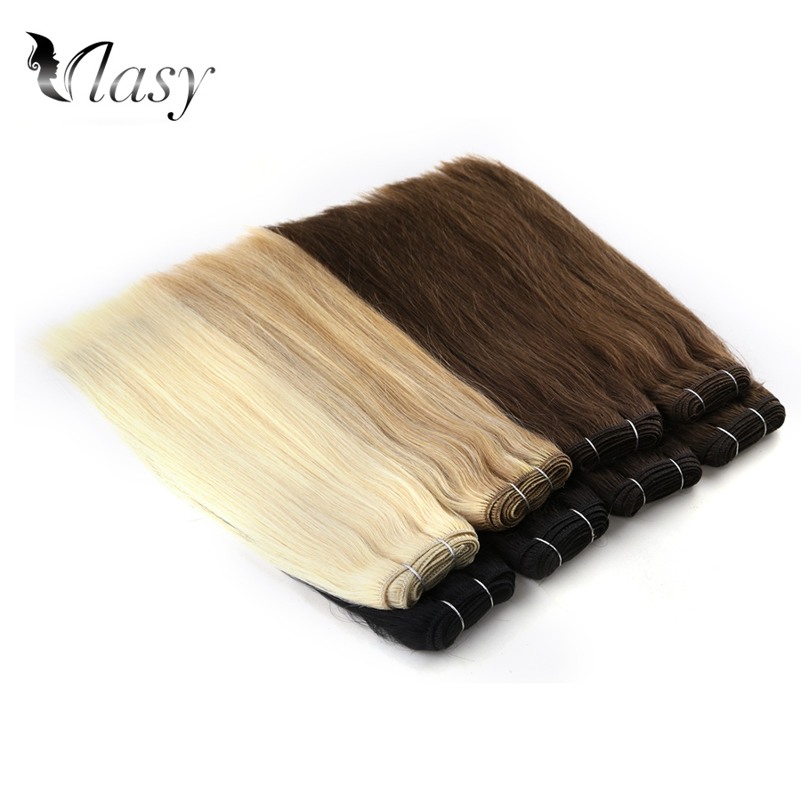 Vlasy 14'' 110g/pc Platinum Blonde Straight Human Hair Weave Bundles Remy Hair Weft Extension
