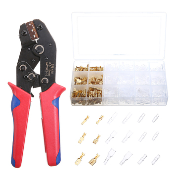 цена на 600pcs Cable Plugs Female Terminal Connector + Crimping Pliers Flat Socket Set Crimper Cable Lug Plier Hand Tools Set