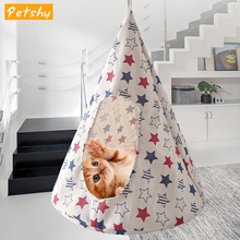 Petshy Portable Hanging Cat Bed Soft Cat Hammock Tent Puppy  Cage Bed House Cave Kitten Hammock Cushion Cats Basket Kennel