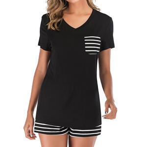 Shorts Pajama Nightwear Home-Suit Summer Sleepwear Striped Women New O-Neck Elastic-Waist