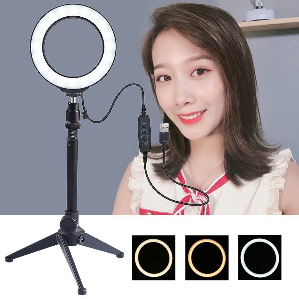 Ring Light 16CM With Tripod Stand USB 3 Modes LED Ring Video Photography