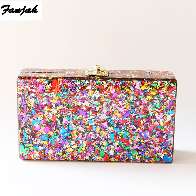 Цветная акриловая коробка, сумка через плечо с металлической застежкой, черная ткань, Женский брендовый пляжный летний акриловый кошелек