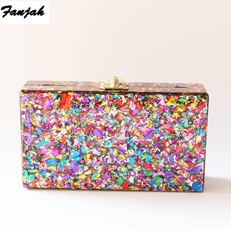 Colorful Acrylic Box Clutches Metal Clasp Black Fabric Shoulder Bags Women Lady Brand Beach Summer Acrylic Box Purse Wallet-in Shoulder Bags from Luggage & Bags
