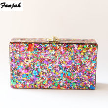 Colorful Acrylic Box Clutches Metal Clasp Black Fabric Shoulder Bags Women Lady Brand Beach Summer Acrylic Box Purse Wallet(China)