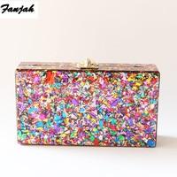 Colorful Acrylic Box Clutches Metal Clasp Black Fabric Shoulder Bags Women Lady Brand Beach Summer Acrylic Box Purse Wallet