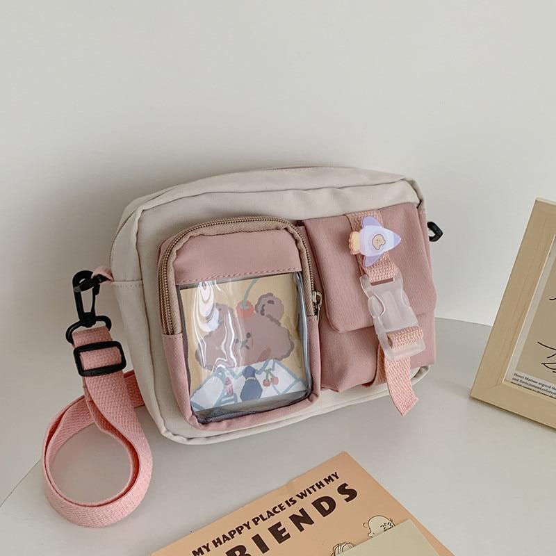 Japanse Style Kawaii Bag Girls Student Small Nylon Bag Mutipockets Transparent Crossbody Bags Women New Shoulder Bag Bolsa Mujer