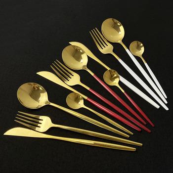 4 sztuk zestaw różowy złote lustrzane sztućce zestaw 18 10 sztućce ze stali nierdzewnej sztućce zestaw sztućców nóż stołowy widelec zestaw łyżek tanie i dobre opinie uniturcky CN (pochodzenie) Zachodnia Metal STAINLESS STEEL Barwiona Stałe Ce ue Lfgb Ekologiczne Łyżka widelec nóż zestaw