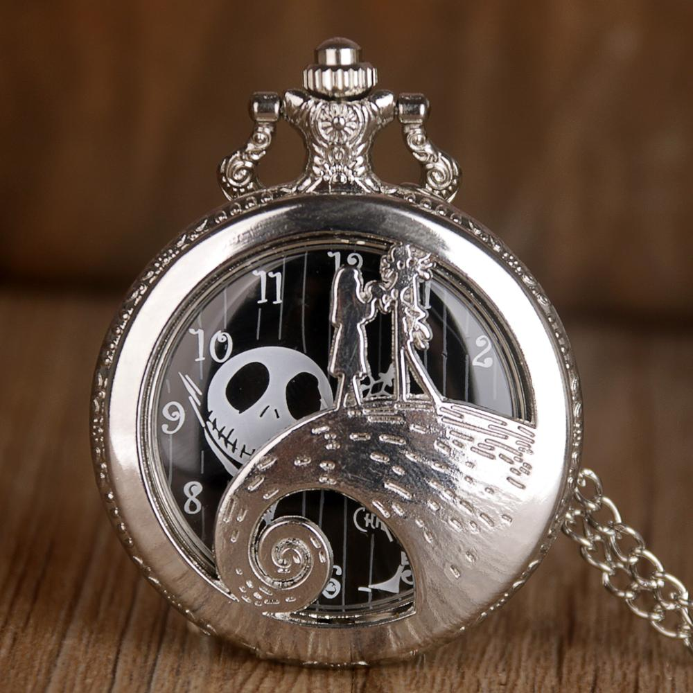 Tim Burton Quartz Pocket Watch The Night Before Christmas Jack Skellington Design Necklace Chain Pocket Watches Men Womens Gift