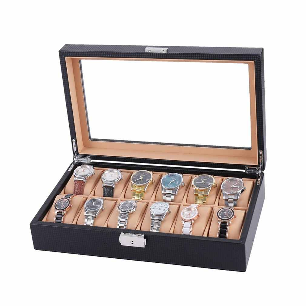 6/12 Slot Watch Box Carbon Fiber Wrist Watch Display Box Storage Holder Organizer Watch Case Jewelry Dispay Watch Box