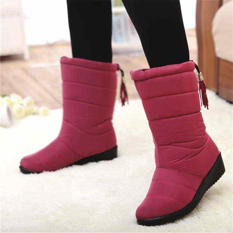 Yeni orta buzağı çizmeler peluş sıcak kar botları kadın kış ayakkabı su geçirmez kadın botları moda kadın kışlık botlar artı boyutu 42 43