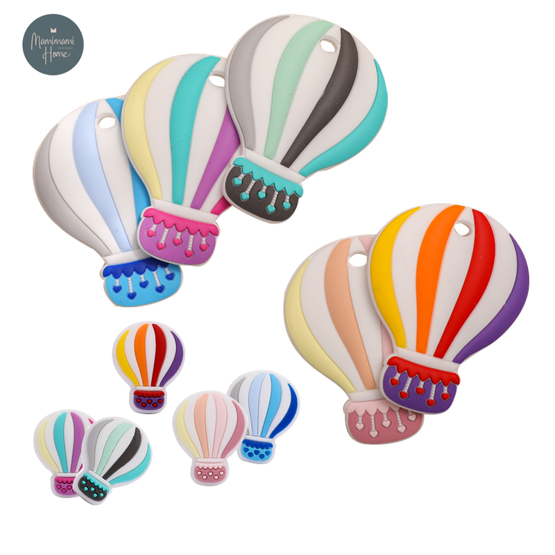 2021 New Silicone Teethers Hot Air Balloon Shape BPA Free Baby Teething Toys Infant DIY Pacifier Clip Necklace Toy Accessories