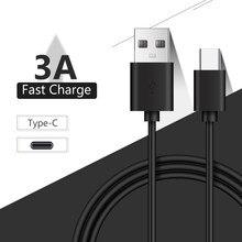 25/100/150/200/300cm Preto 3A USB C Tipo C Cabo do Carregador de Sincronização de Dados Cabo de Carregamento Rápido Para Xiomi Redmi Nota 7 8 Pro Huawei