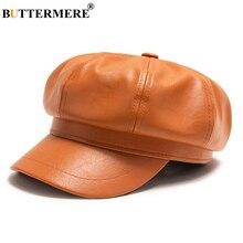 BUTTERMERE, зимние шапки для женщин, газетная Кепка из искусственной кожи, восьмиугольная кепка, одноцветная, Ретро стиль, повседневная, верблюжья Кепка на плоской подошве