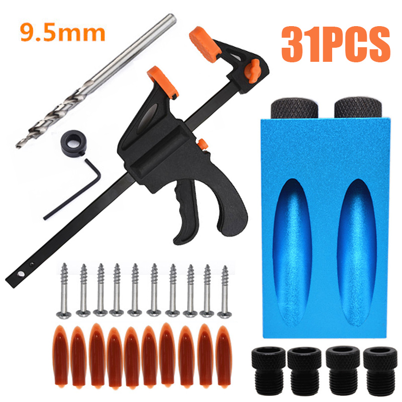 31Pcs Pocket Hole Drills Jig Drilling Templates Wood Joining System Pockets Holes Drill Jig Durable And Convenince