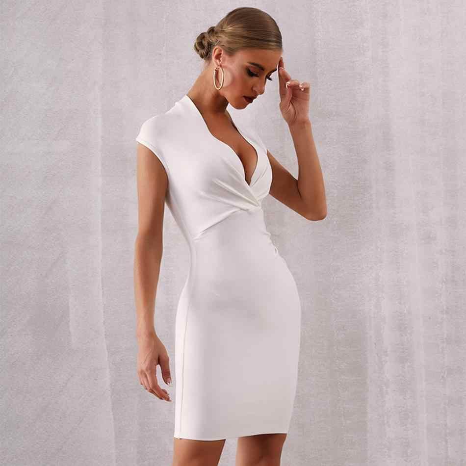 הכי חדש סלבריטאים המפלגה Bodycon תחבושת שמלת נשים לבן שרוול קצר V העמוק צוואר סקסי לילה החוצה מועדון מיני שמלת נשים vestidos