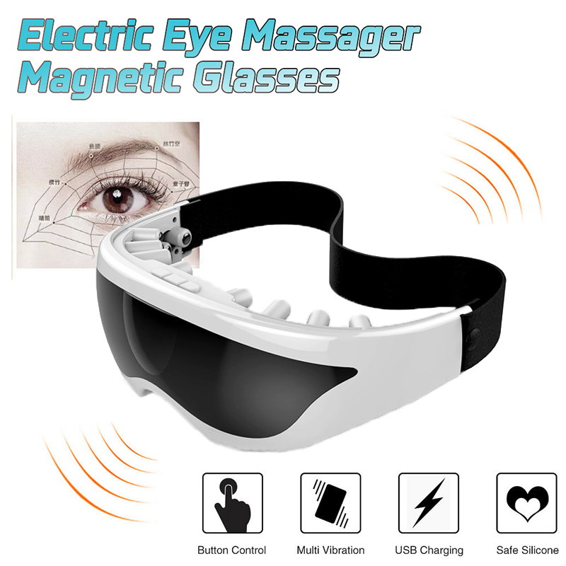 Eye Massager Magnets Acupoints Massage Vibrate Eye Care Fatigue Stress Relief Goggles Improve Eyesight Wireless Rechargeable