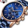 2019 LIGE جديد الأزرق ساعة كوارتز رجال موضة الأعمال مقاوم للماء جميع الصلب ساعة الذكور الطلب الكبير تاريخ متعددة الوظائف كرونوغراف + صندوق