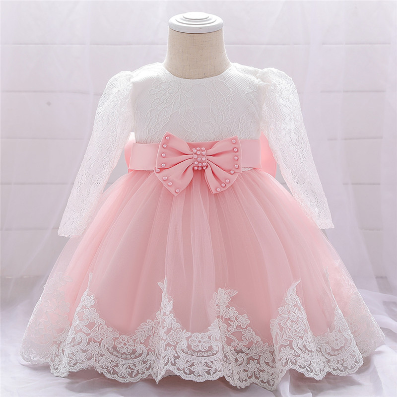 Beads Flower Infant Baby Girl Dress Lace Big Bow Baptism Dresses for Girls First Year Birthday Party Wedding Baby Clothes