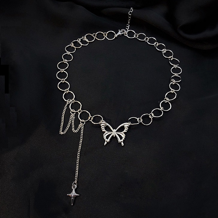 Harajuku Punk Style Butterfly Choker Necklace Jewelry Women Collares Gothic Hip Hop Link Chain Necklace Collares Mujer  Jewlery
