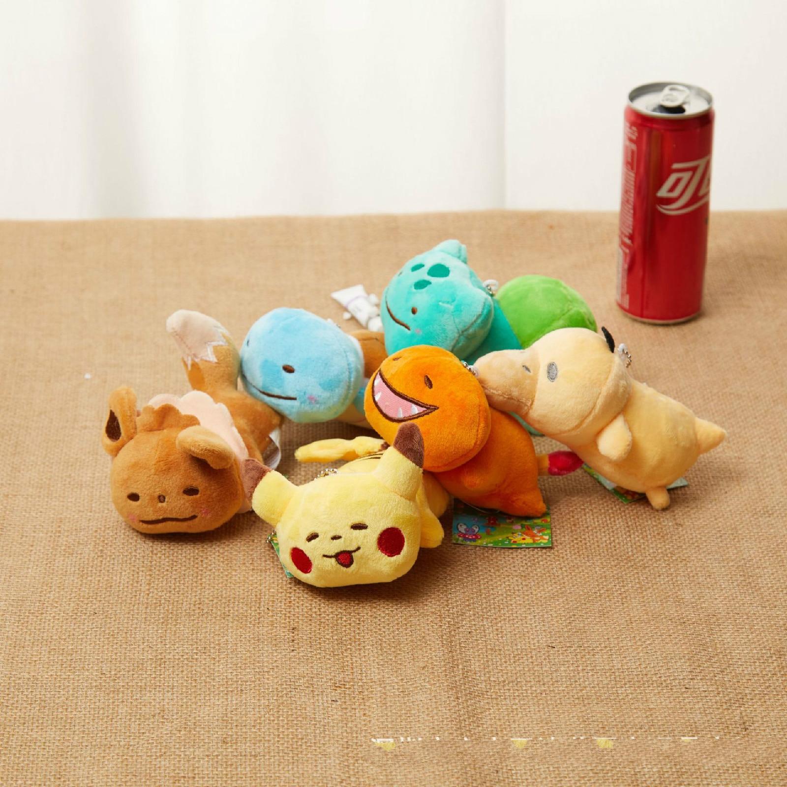 12cm Pocket Monster Pokemon Keychain Pendant Pikachu Charmander Squirtle Bulbasaur Stuffed Plush Dolls Toy Gift Kid Children