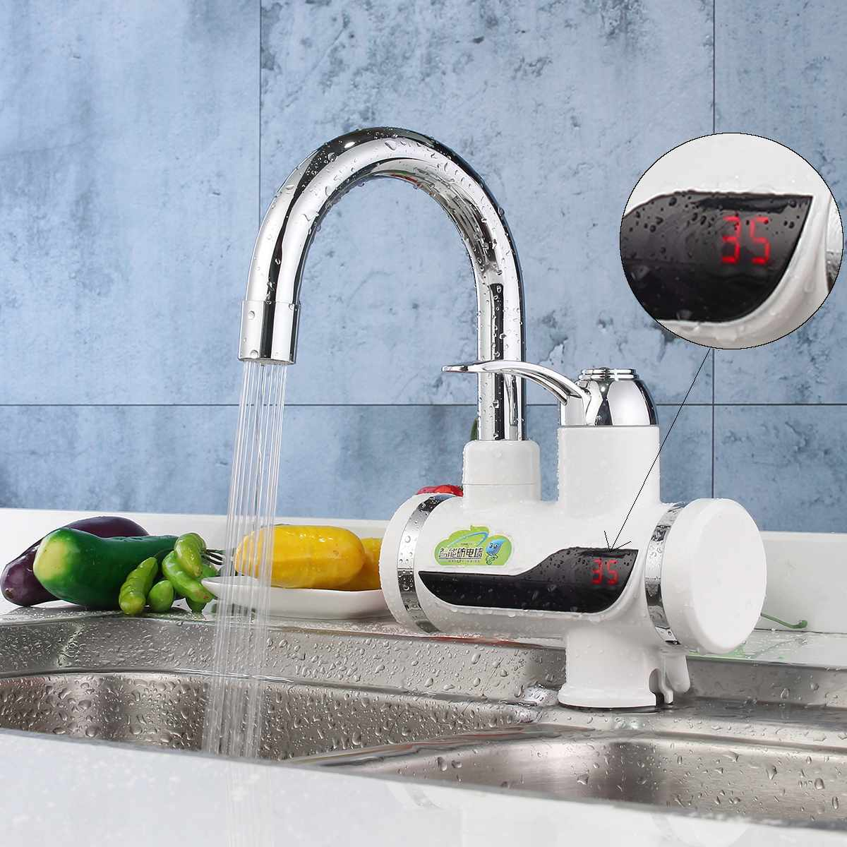 220V 3000W Electric Water Heater Kitchen Faucet Tankless Instant Heating Kitchen Mixer Tap Household LED Digital Display