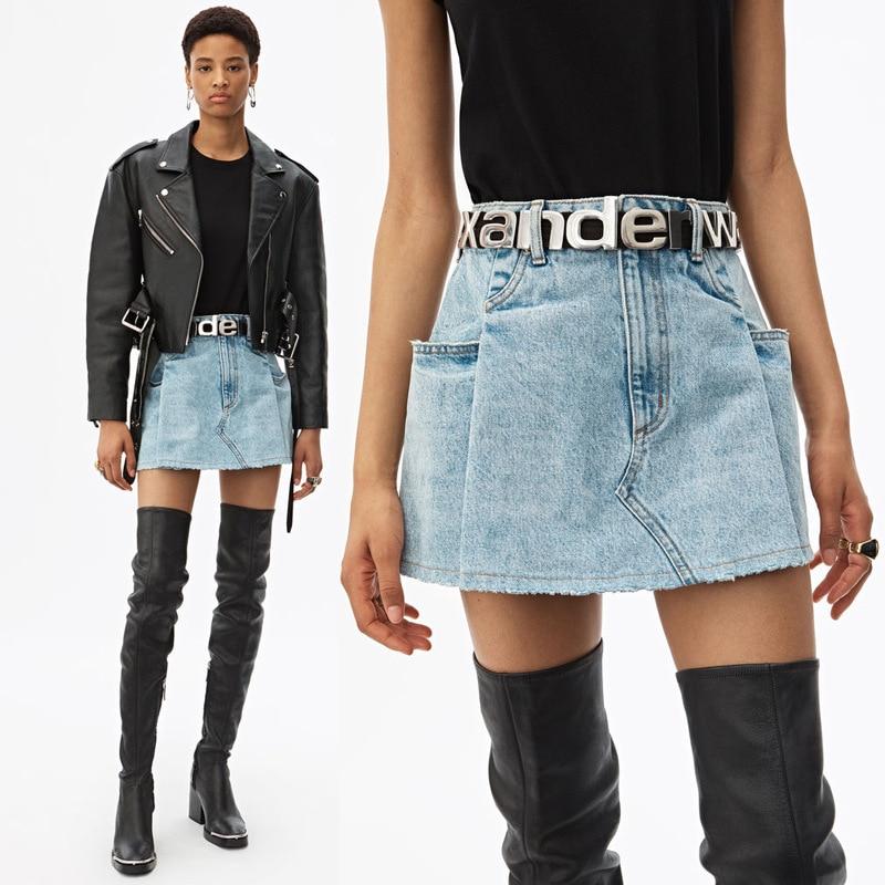 2020 Spring Summer Women's Folding Pocket High Waist Blue Denim Skirt Short A-line Skirt A2