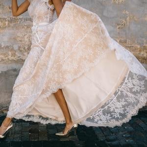 Image 5 - Vestido De Noiva a ligne col en V robe De mariée Top dentelle Appliques robe De mariée sur mesure robe De mariée balayage Train
