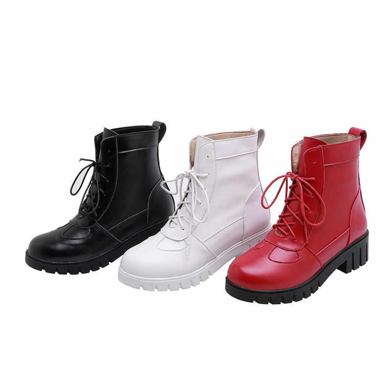 Asumer 2020 Mới Mắt Cá Chân Giày Cho Nữ Giày Mũi Tròn Phối Ren Thu Đông Giày Nữ Med Gót Nữ Hứa Giày size Lớn 34-43